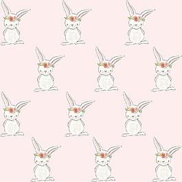 卡通可愛花環清新兔子貼圖素材