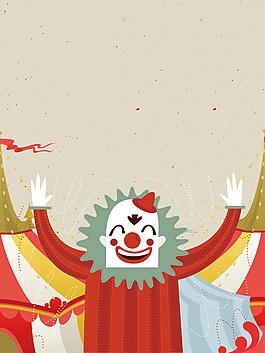 卡通搞怪愚人節小丑海報背景設計