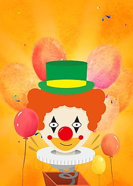 彩繪愚人節小丑圖案海報背景設計