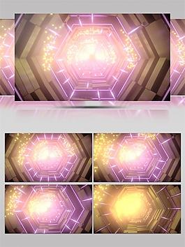 粉紫色流光六边形动态视频素材
