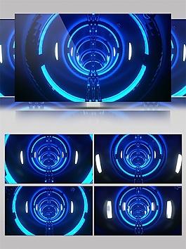 蓝色圆环隧道动态视频素材