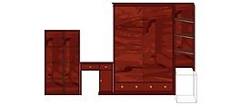 简约红木双推拉衣橱写字桌层架台