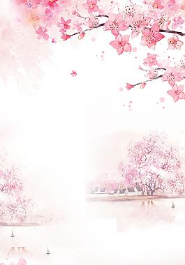 粉色櫻花花瓣商業背景素材