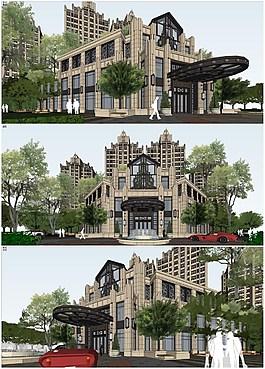 精品artdeco风格售楼处高层居住小区模型