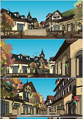 精品北欧瑞士风格商业街区草图大师模型