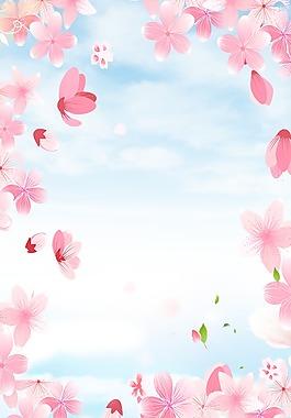 手绘春天促销背景