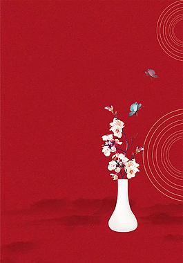 紅色手繪扁平背景