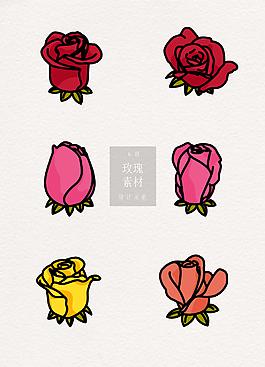 線條玫瑰素材ai矢量元素