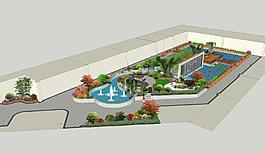 大气简洁时尚园林设计效果图