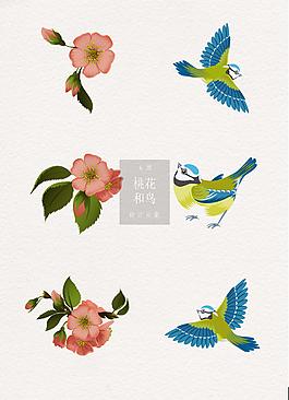 驚蟄節氣桃花和鳥ai元素