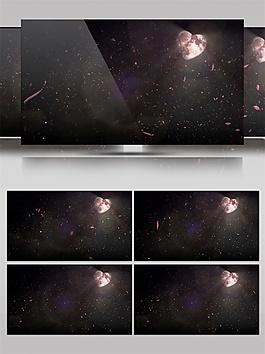 黑色星空心形动态视频素材