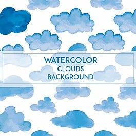 水彩云朵背景底紋