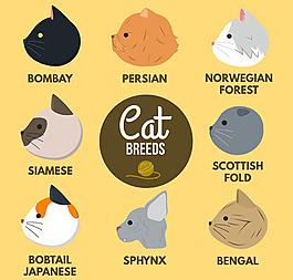 8款卡通貓側臉頭像矢量素材