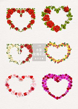 心形玫瑰花邊框裝飾設計元素