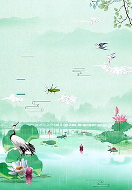 彩繪清新荷塘立夏節氣背景設計