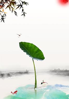 古風荷葉樹枝立夏節氣海報背景設計