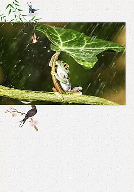 清新树叶下的青蛙立夏海报背景设计