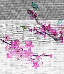 手繪桃花蝴蝶插圖元素