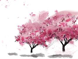 水墨畫桃花樹林元素