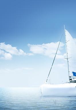 唯美大海帆船海報背景