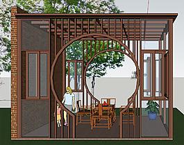 休闲亭阳光房园林效果图设计