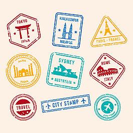 9款彩色不同形状英文邮票元素