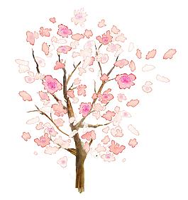 手繪粉色桃花花瓣桃花樹元素