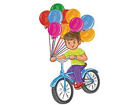 卡通男孩騎自行車帶著氣球矢量元素