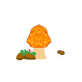 夏季蘑菇夏天花草蘑菇草叢元素