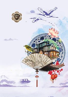 中国风扇子青花瓷海报背景设计