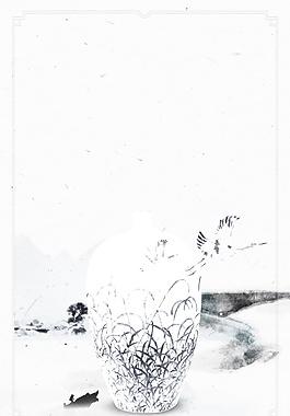 手繪中國風青花瓷底紋背景設計
