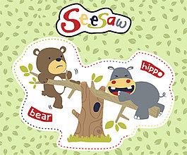 玩耍跷跷板动物儿童插画
