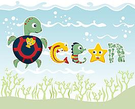 可爱海底生物卡通动物