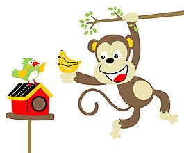 開心摘香蕉猴子卡通動物