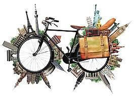 卡通自行車世界地標png元素