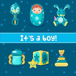 清新夢幻藍色嬰兒產品裝飾元素