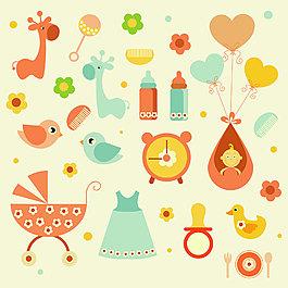 可爱温馨婴儿用品装饰元素