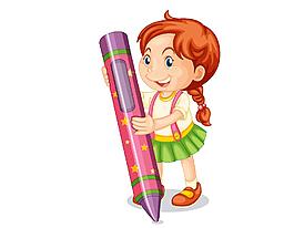 手繪卡通可愛蠟筆女孩元素