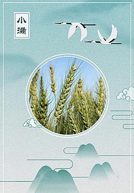 清新小滿節氣麥穗白鶴邊框海報背景設計