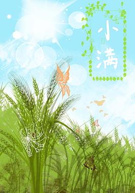 小滿節氣綠色麥田蜘蛛網蝴蝶海報背景設計