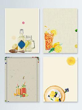 文藝復古夏日冰飲飲品廣告背景圖