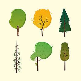 6款創意扁平化樹木合集元素