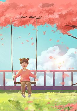彩绘六一儿童节荡秋千海报背景素材