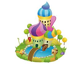 手繪卡通兒童城堡