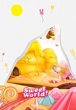 甜蜜世界梦幻城堡六一儿童节背景素材