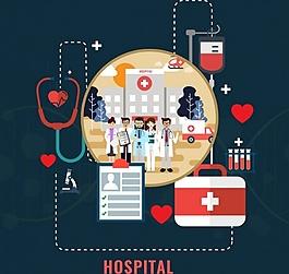 救命醫院插畫ai矢量素材下載