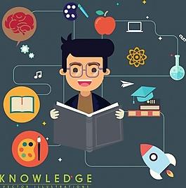 學習看書思考ai矢量素材下載