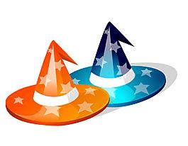 矢量五角星圖案的魔術帽子