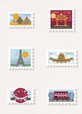 卡通扁平旅行郵票矢量元素