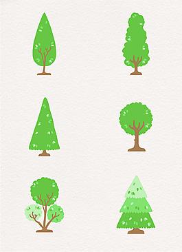 绿色水彩可爱小树元素